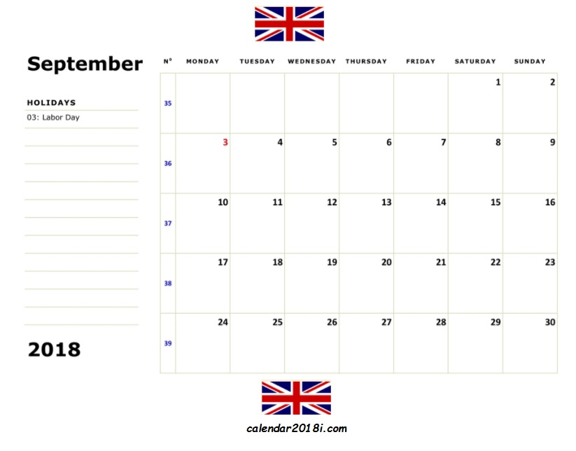 September 2018 Uk Holidays Calendar