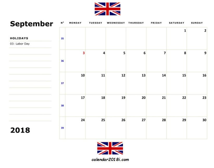 September 2018 Uk Holidays Calendar