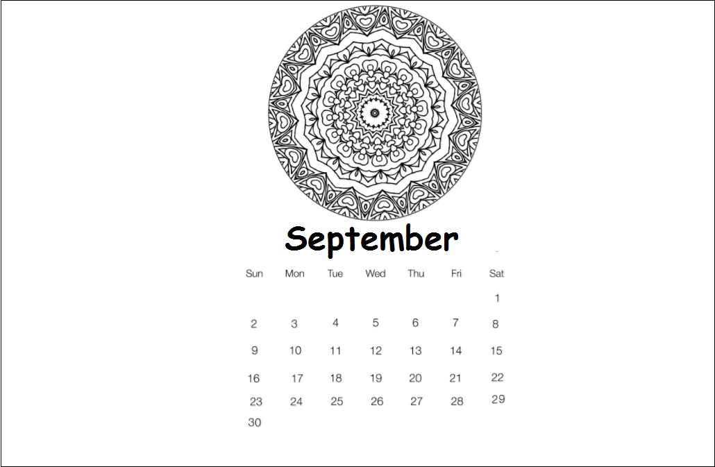 September 2018 Wall Calendar Download