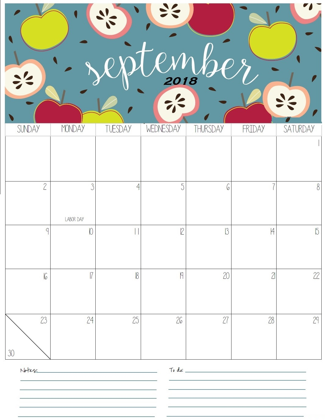 September 2018 Wall Calendar HD