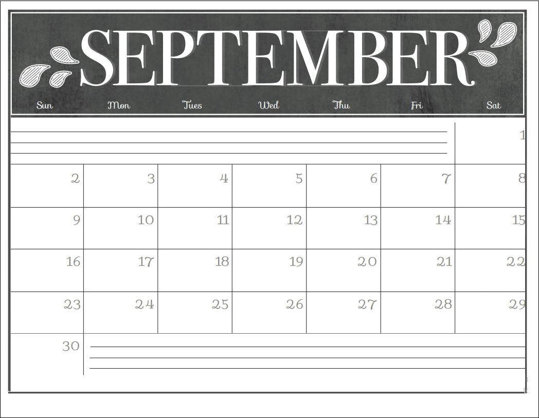 September 2018 Wall Calendar Template