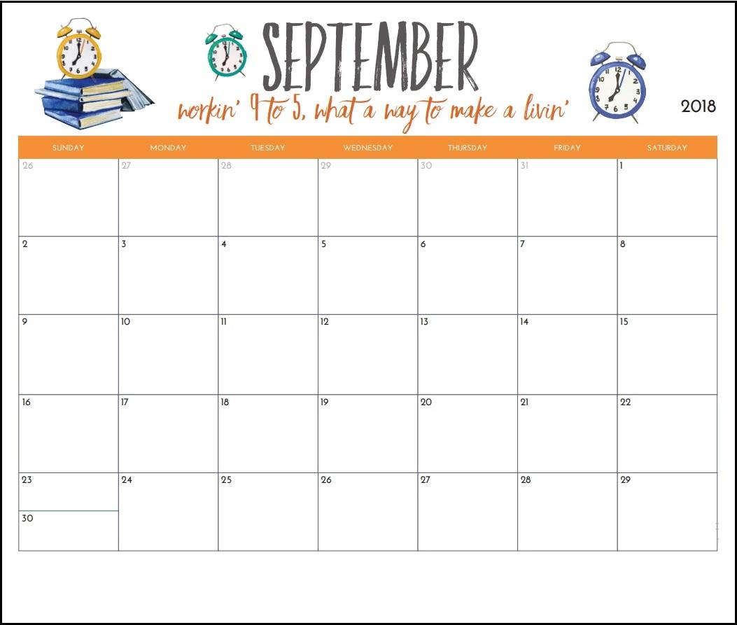 September 2018 Wall Calendar