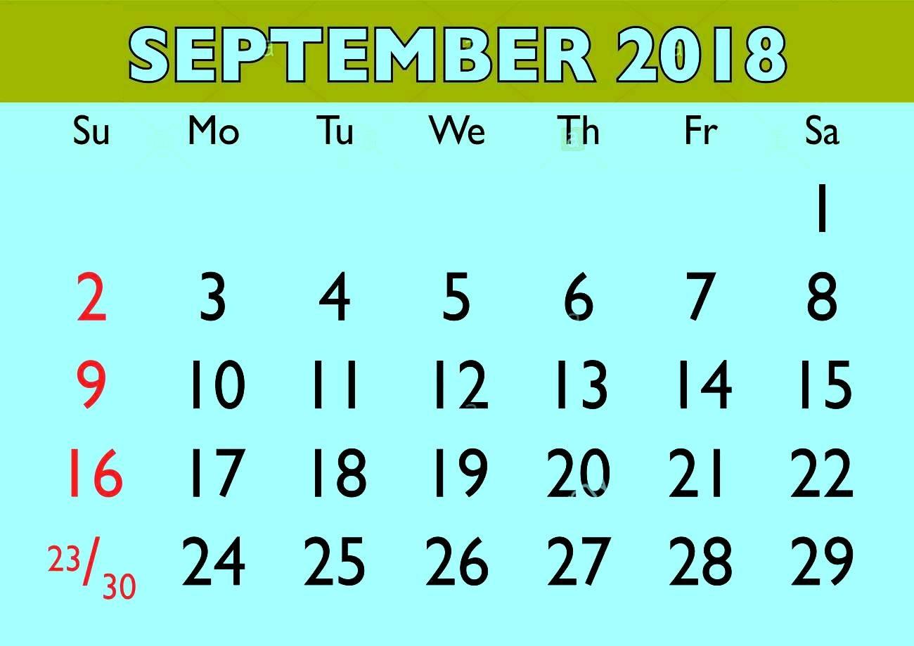 September 2018 Word Calendar
