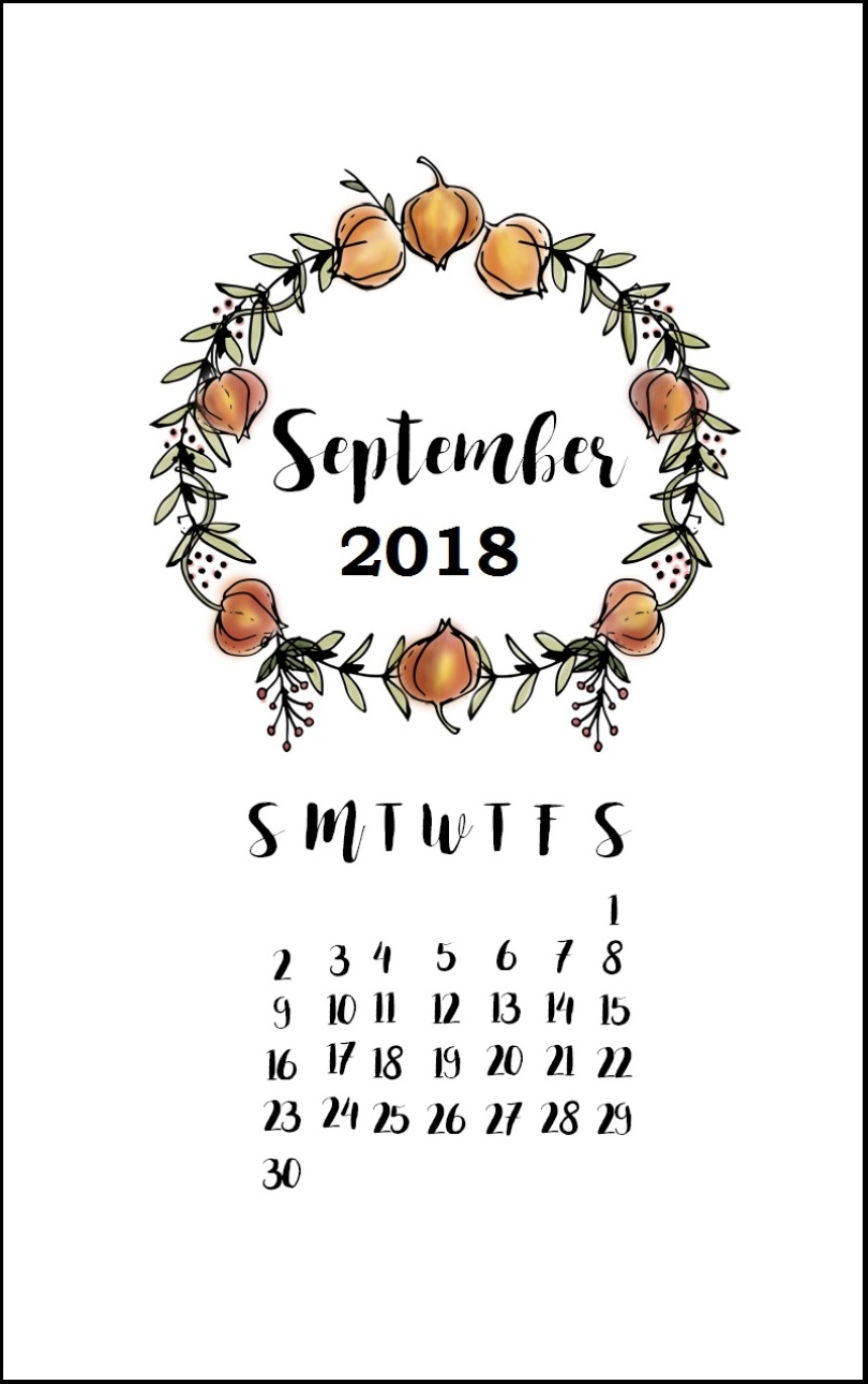 September 2018 iPhone Calendar Design