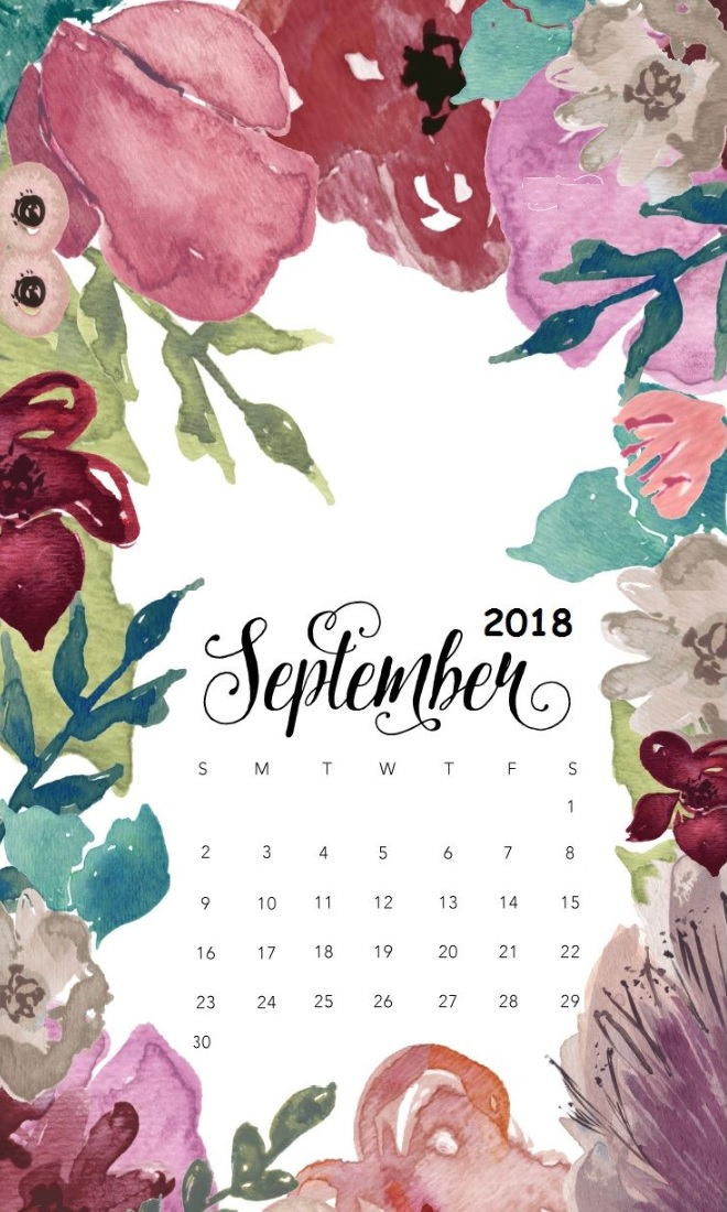 September 2018 iPhone Calendar Wallpapers