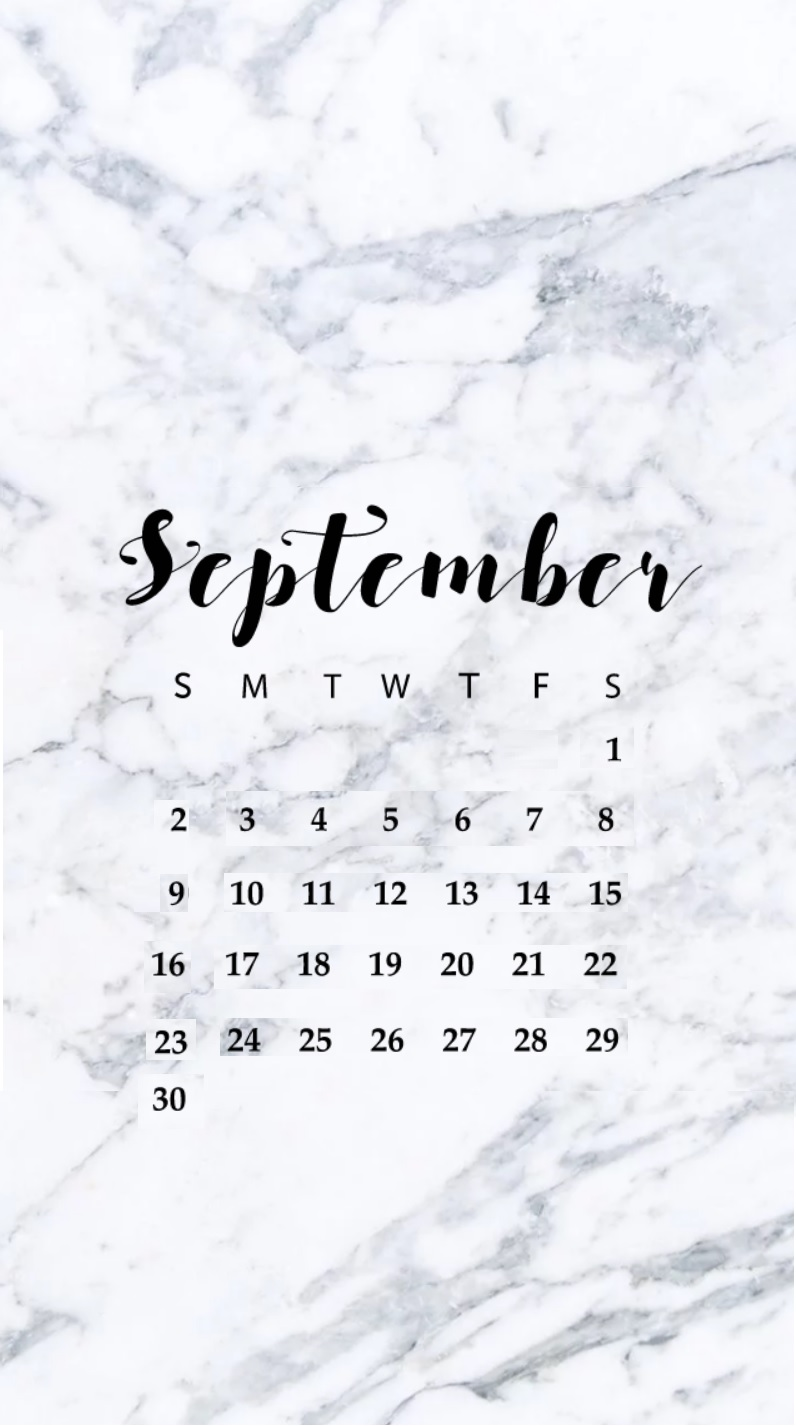 September 2018 iPhone HD Calendar