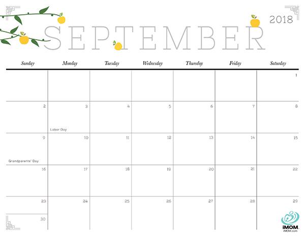 September Calendar 2018 Page