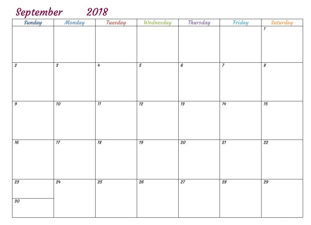 September Calendar 2018 Printable Template