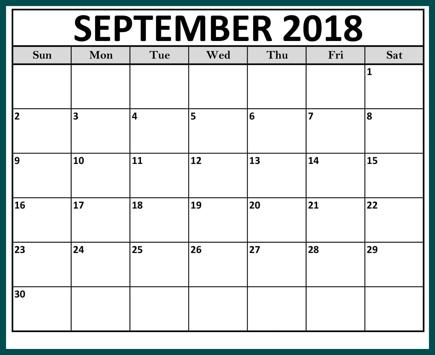 September Calendar 2018 Printable