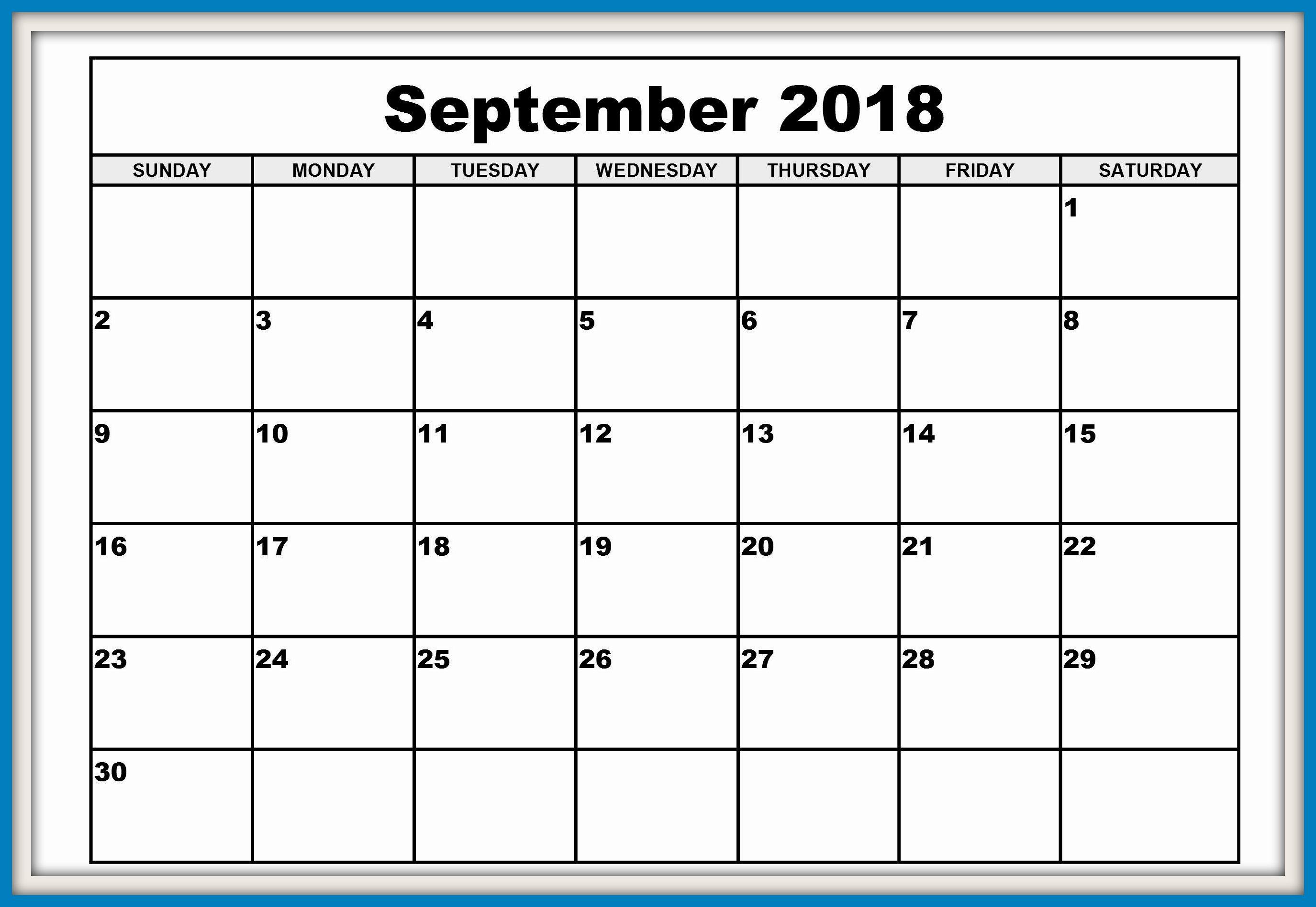 September Calendar 2018 South Africa