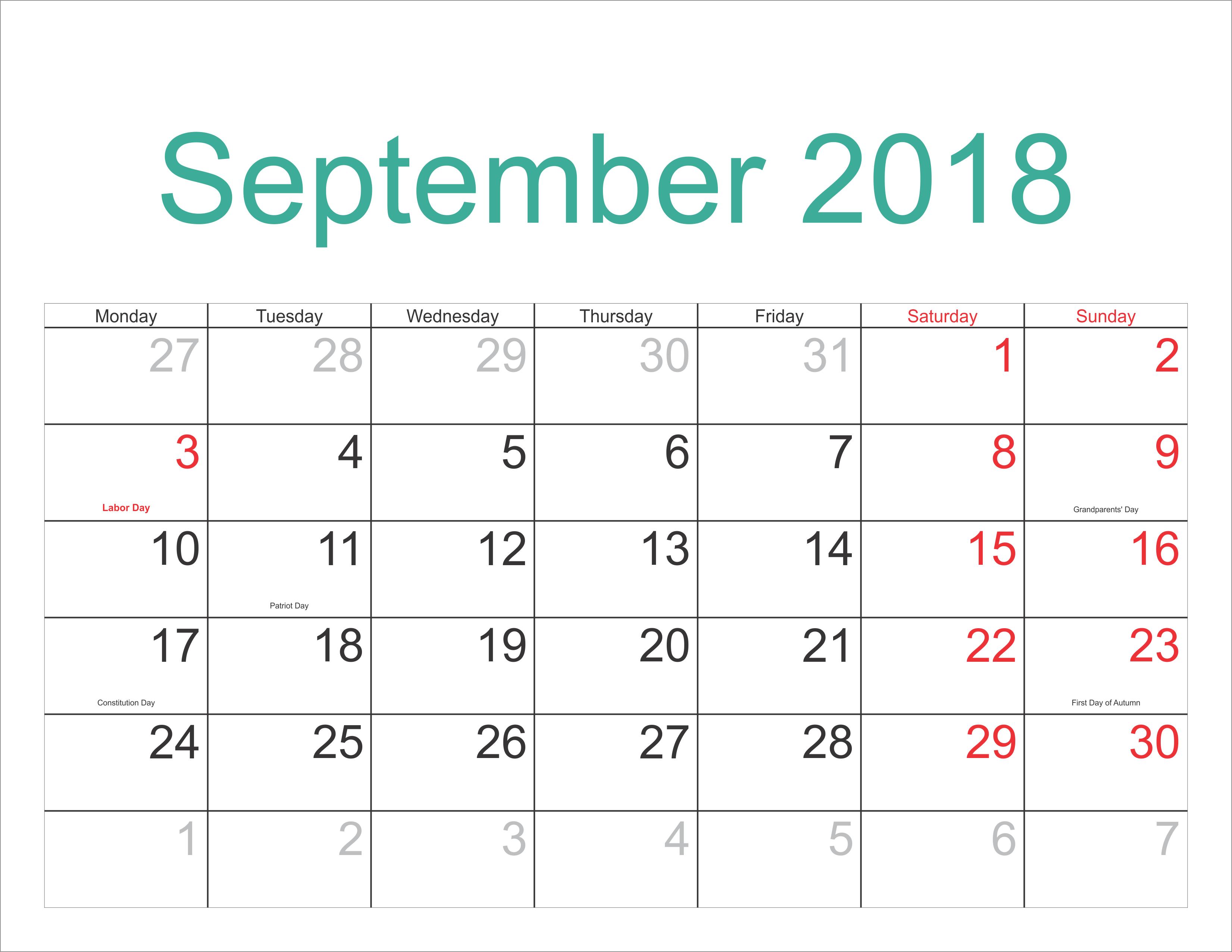 September Calendar 2018 USA