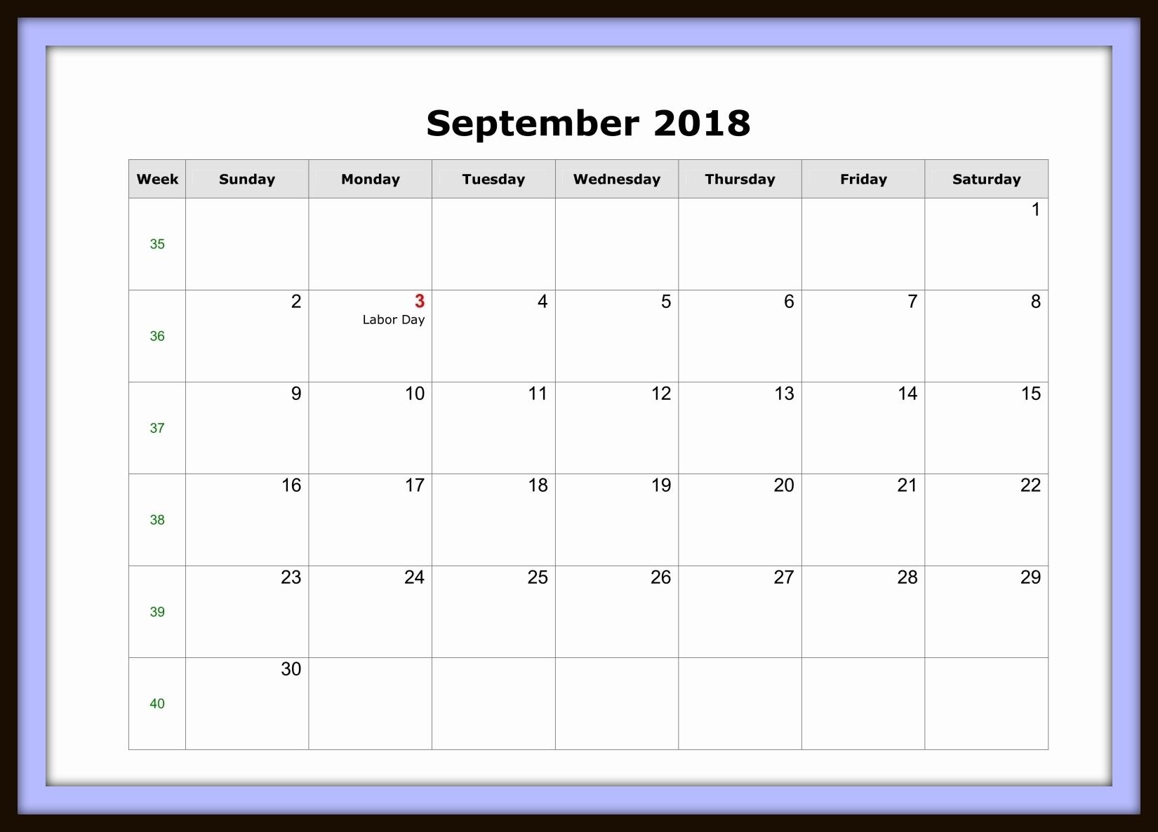 September Calendar 2018 Word