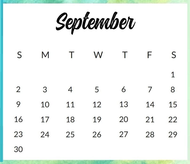 September Calendar Excel