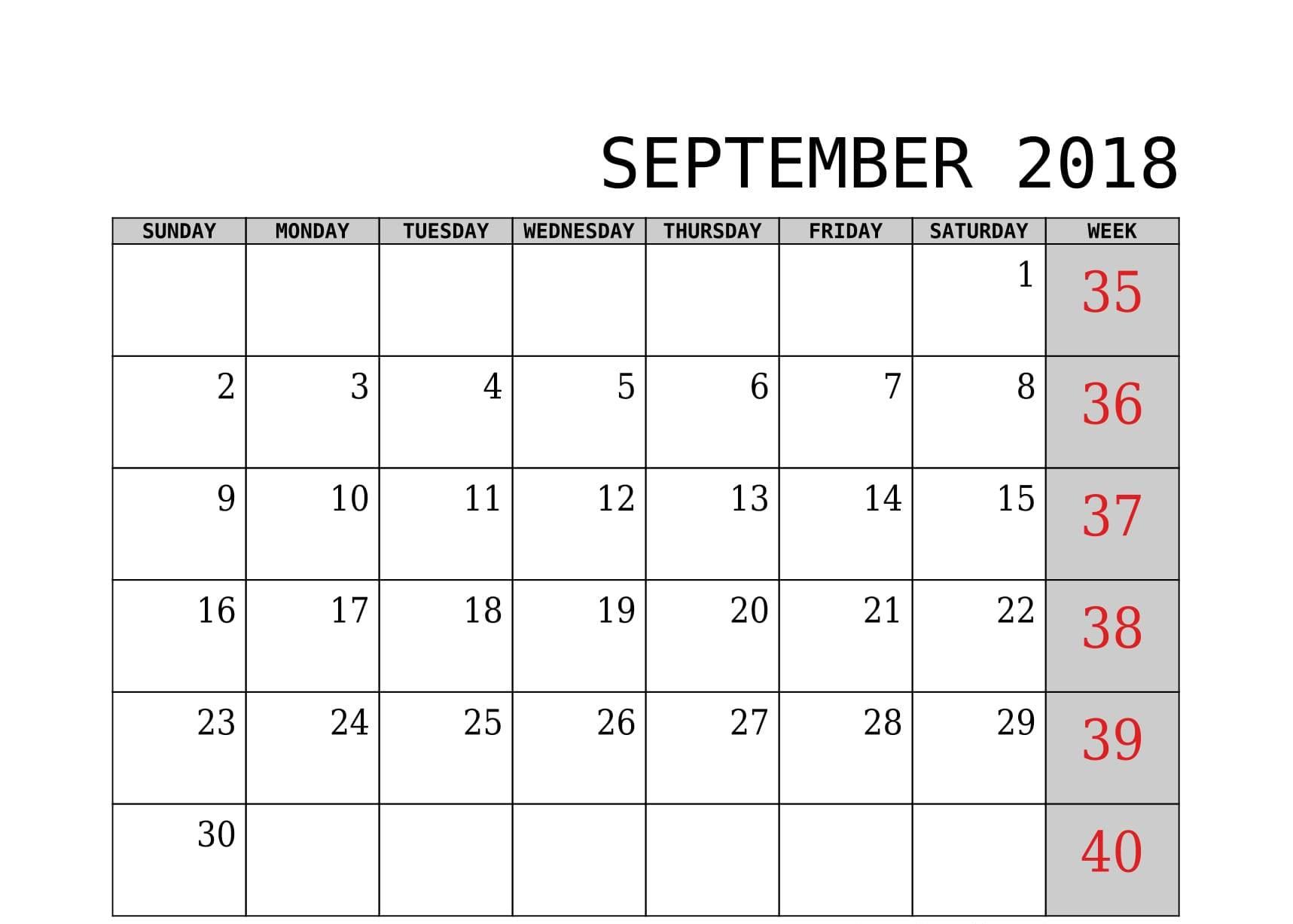 September Calendar PDF