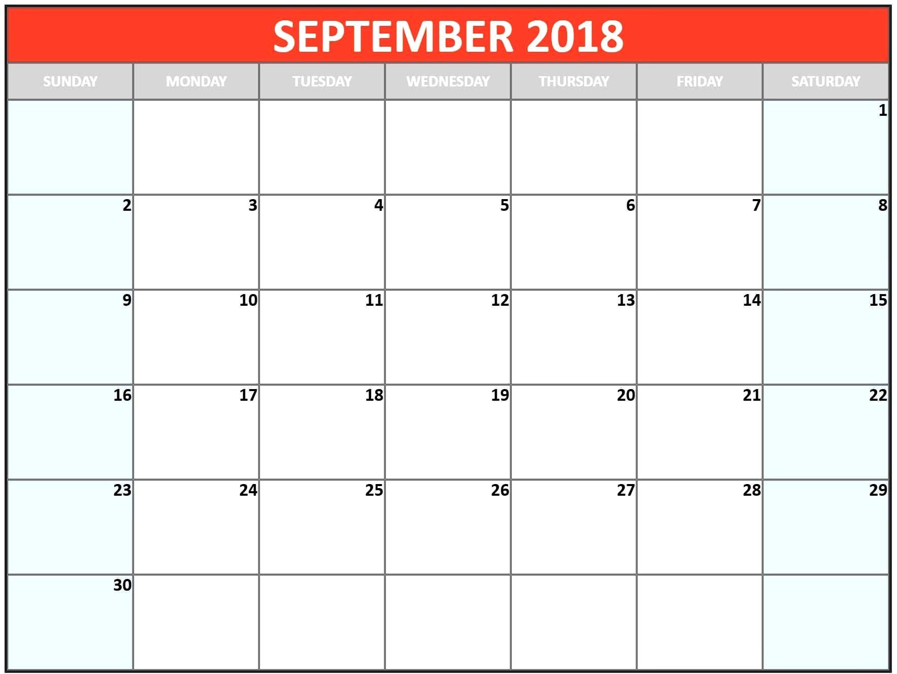 September Calendar Pink