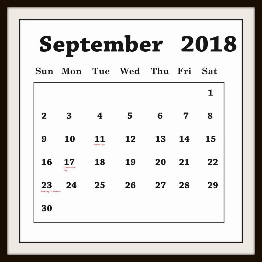 September Calendar Telugu