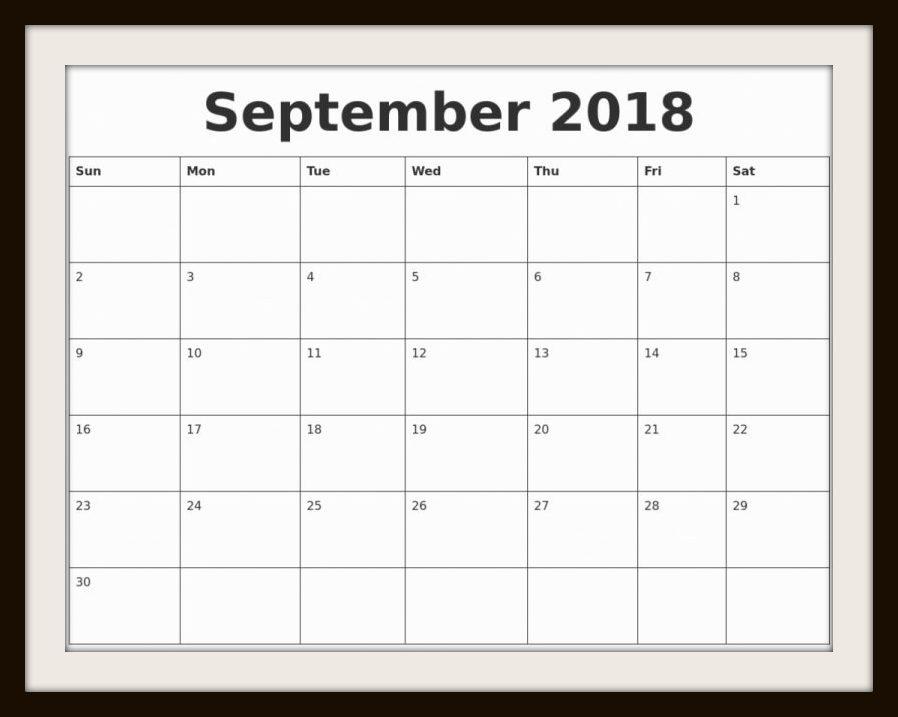 September Calendar to Print