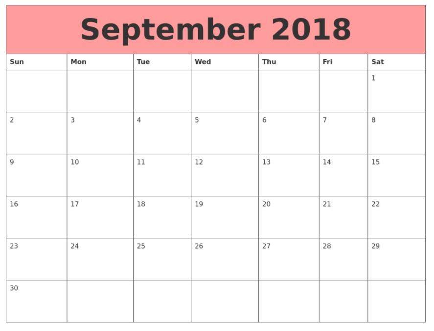 September Month 2018 Calendar