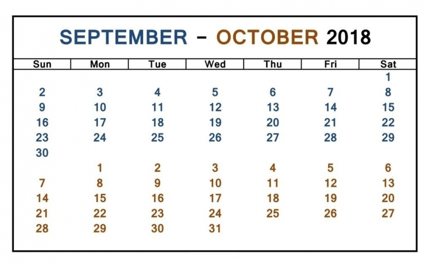 September October 2018 Calendar Word