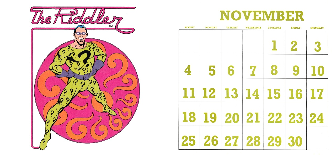 Superhero November 2018 Calendar Wallpapers