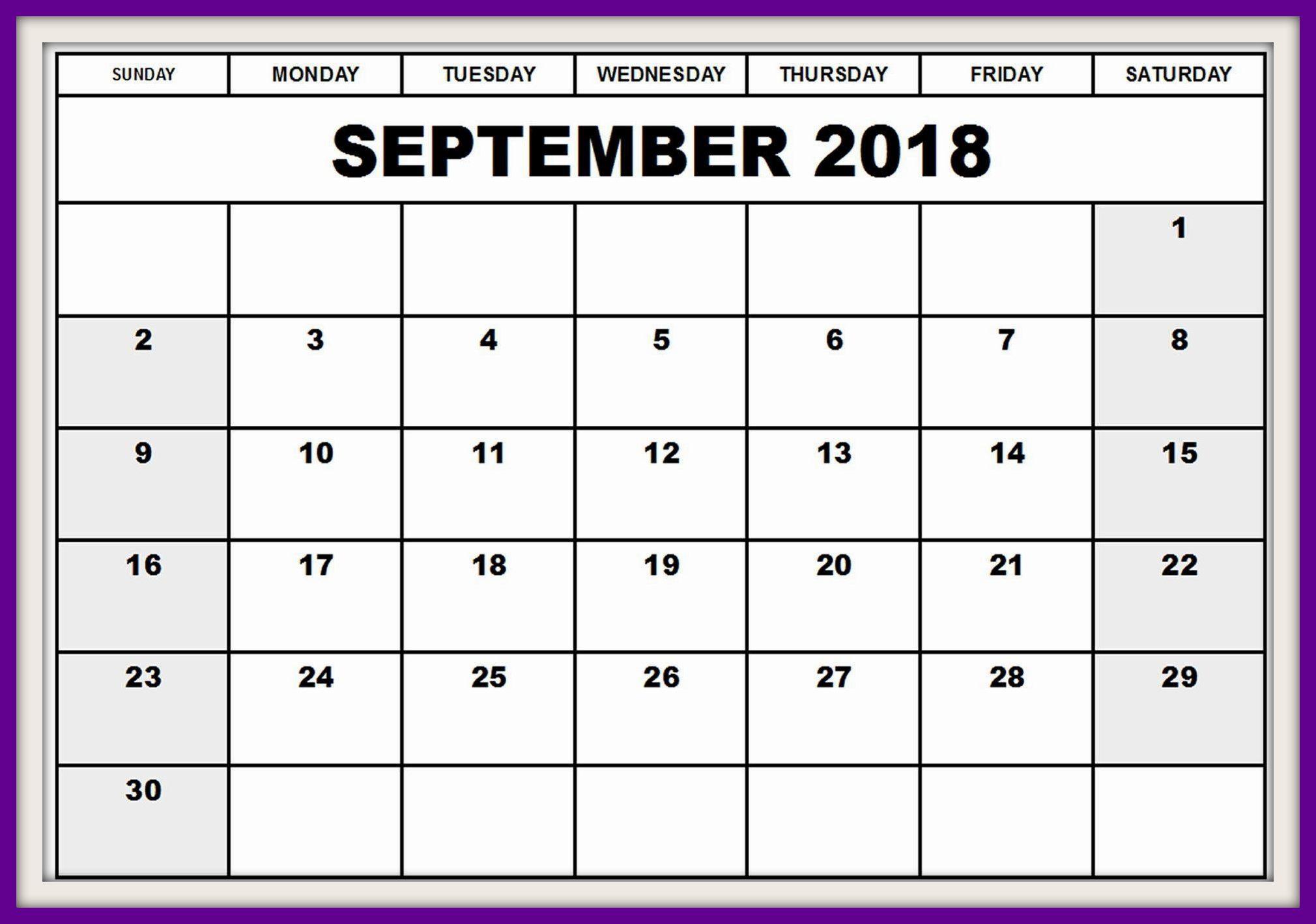 UK September 2018 Calendar