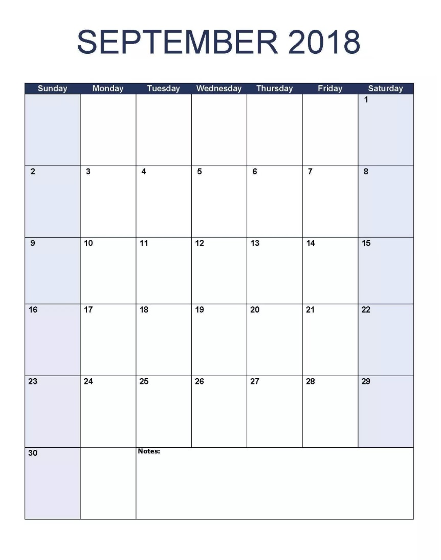 Vertical September 2018 Editable Calendar