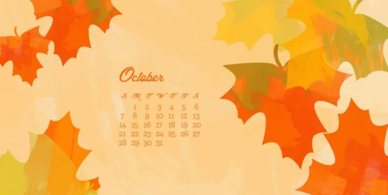 Watercolor October 2018 Calendar Wallpapers