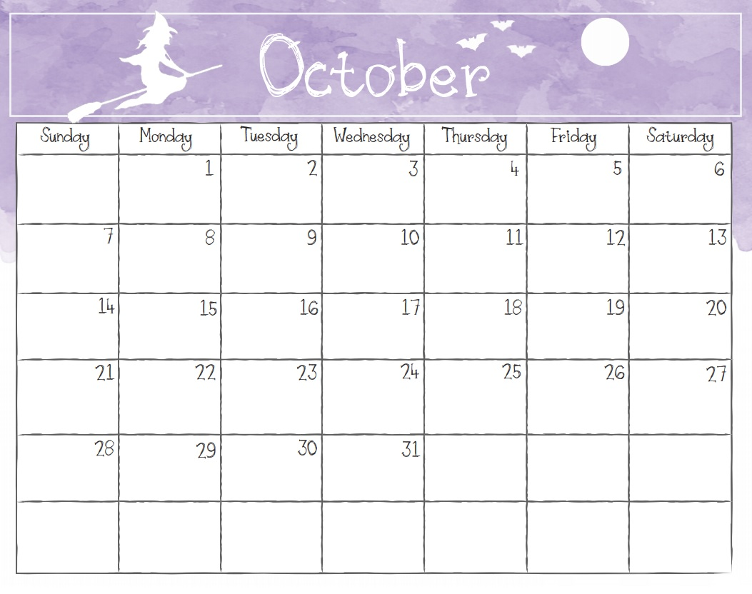 Watercolor October 2018 Calendar