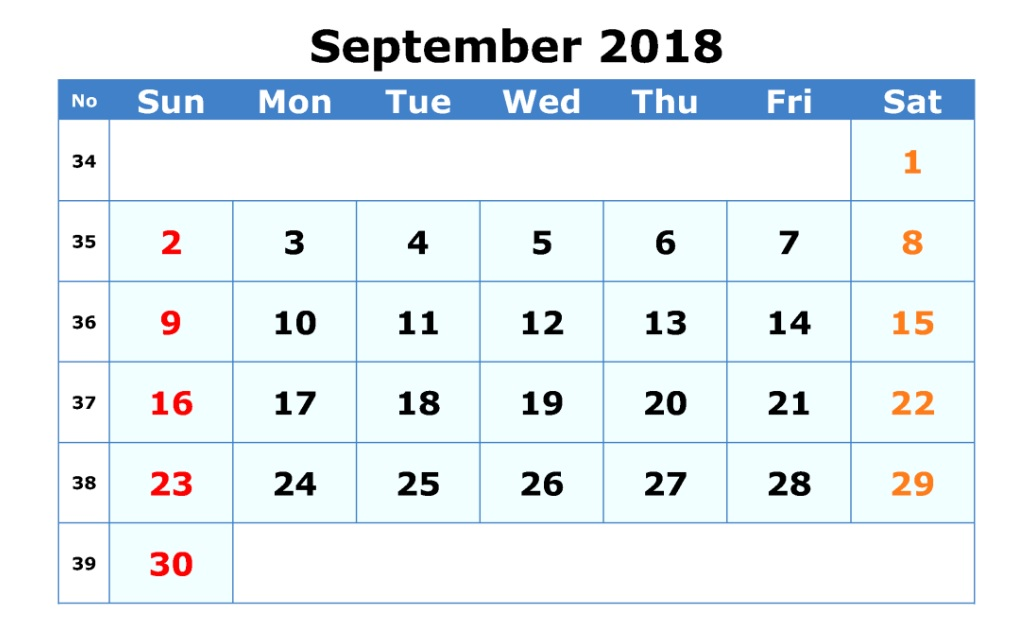 Waterproof September 2018 Editable Calendar