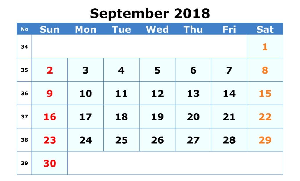 Waterproof September 2018 Editable Calendar