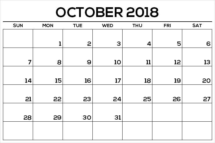 Word October 2018 Calendar Printable