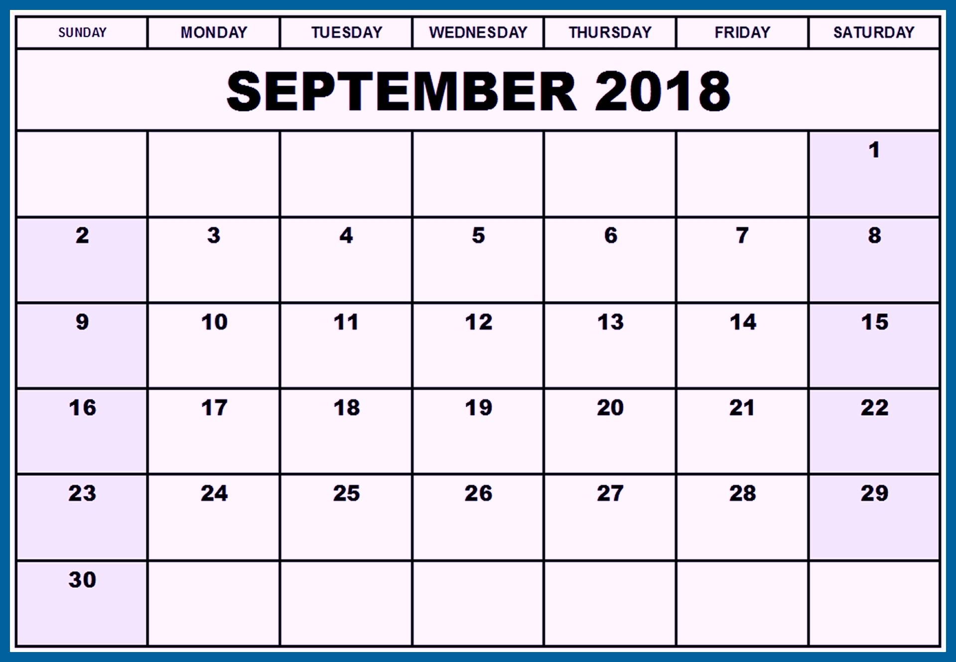 september 2018 calendar excel sheet