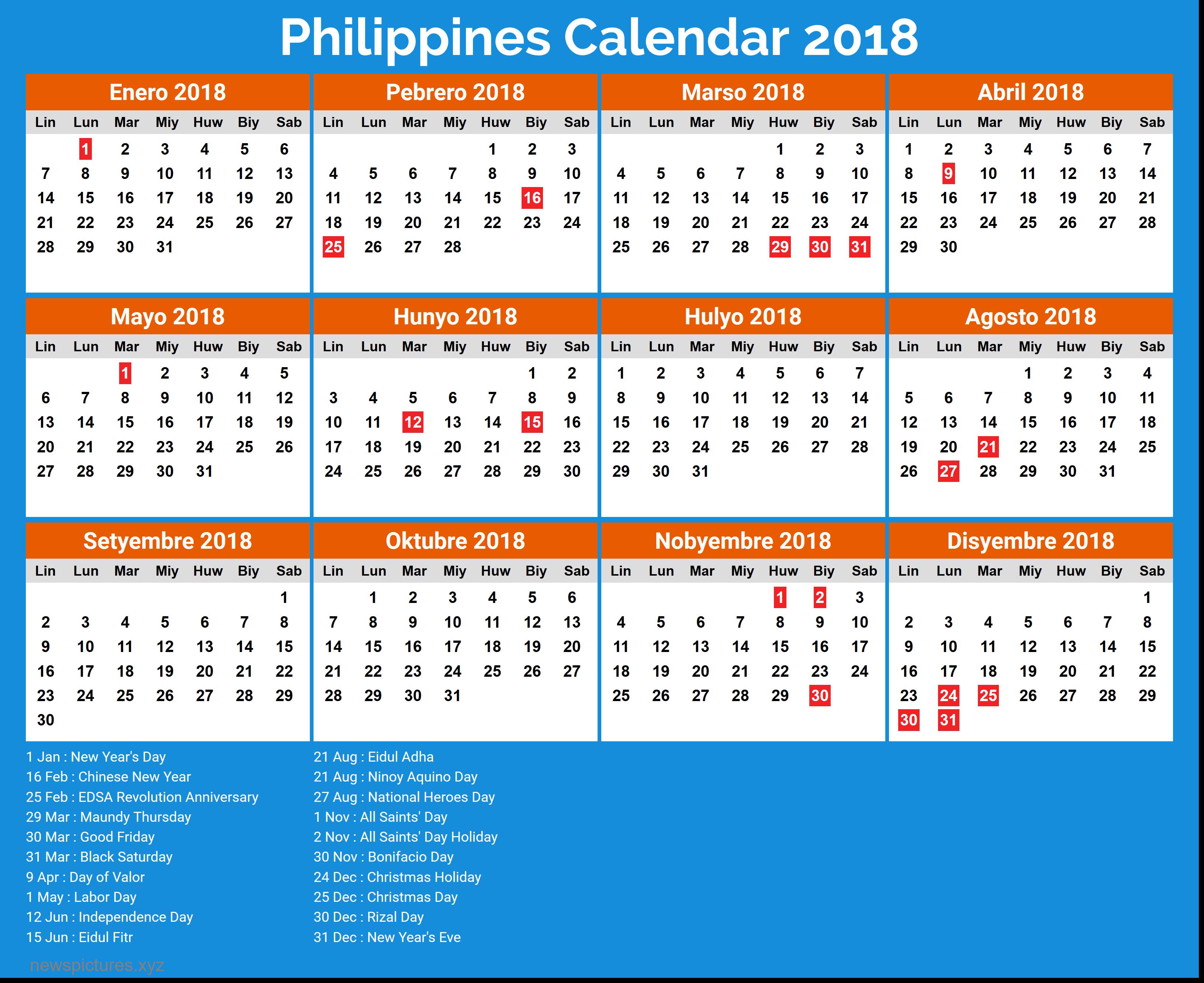 2018 Calendar Philippines