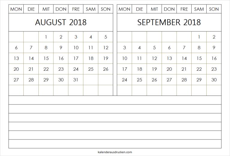 2018 Kalender August und September