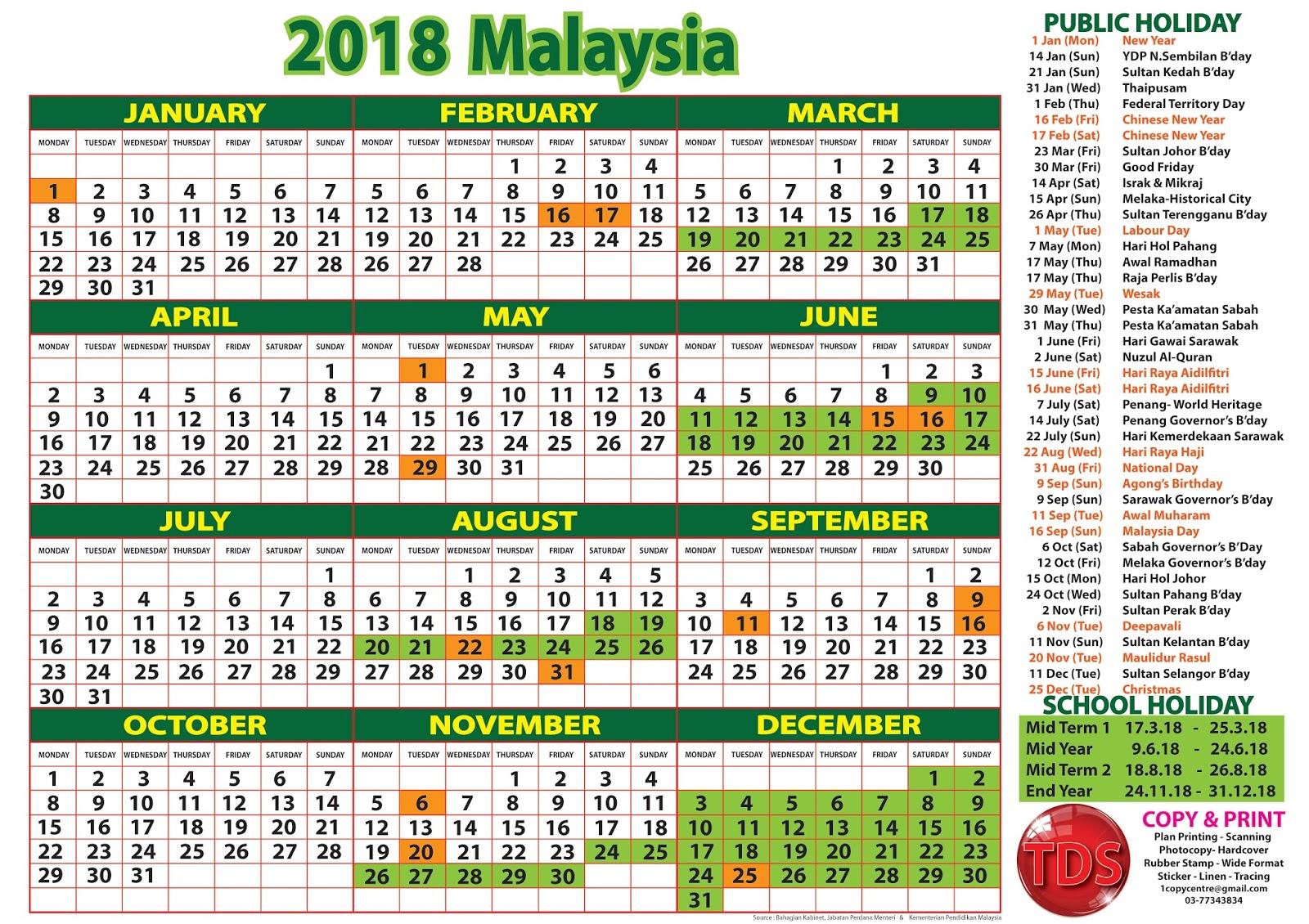 2018 Malaysia Calendar With Holidays