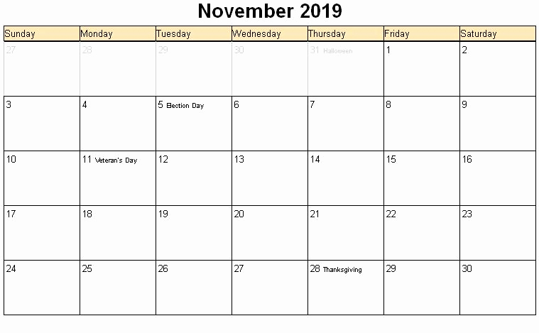 2018 November Calendar with Holidays