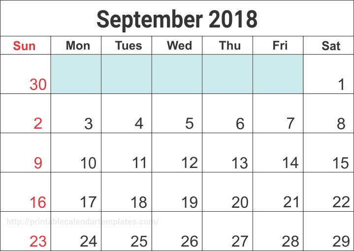 2018 September Calendar Blank Templates