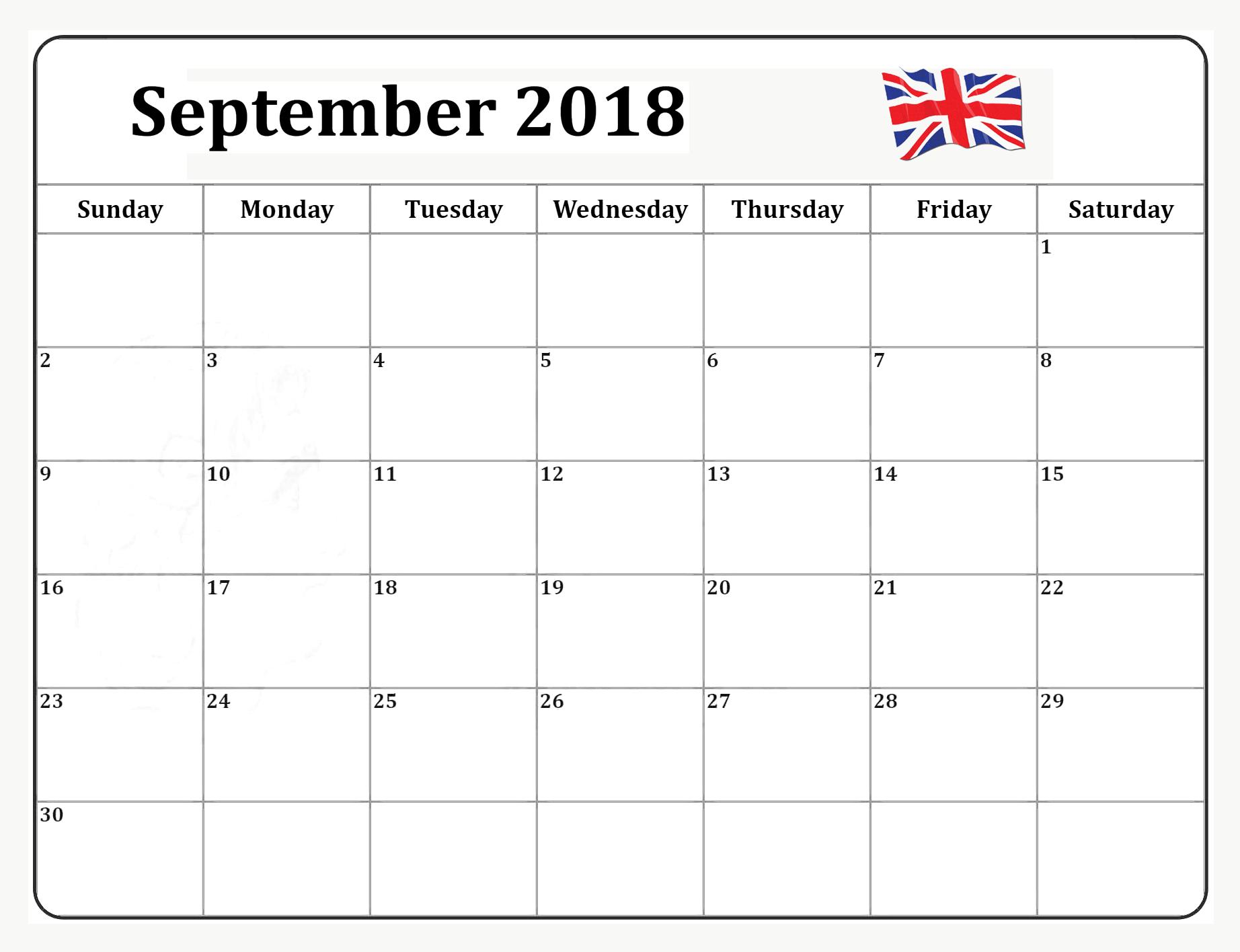 2018 September Calendar UK