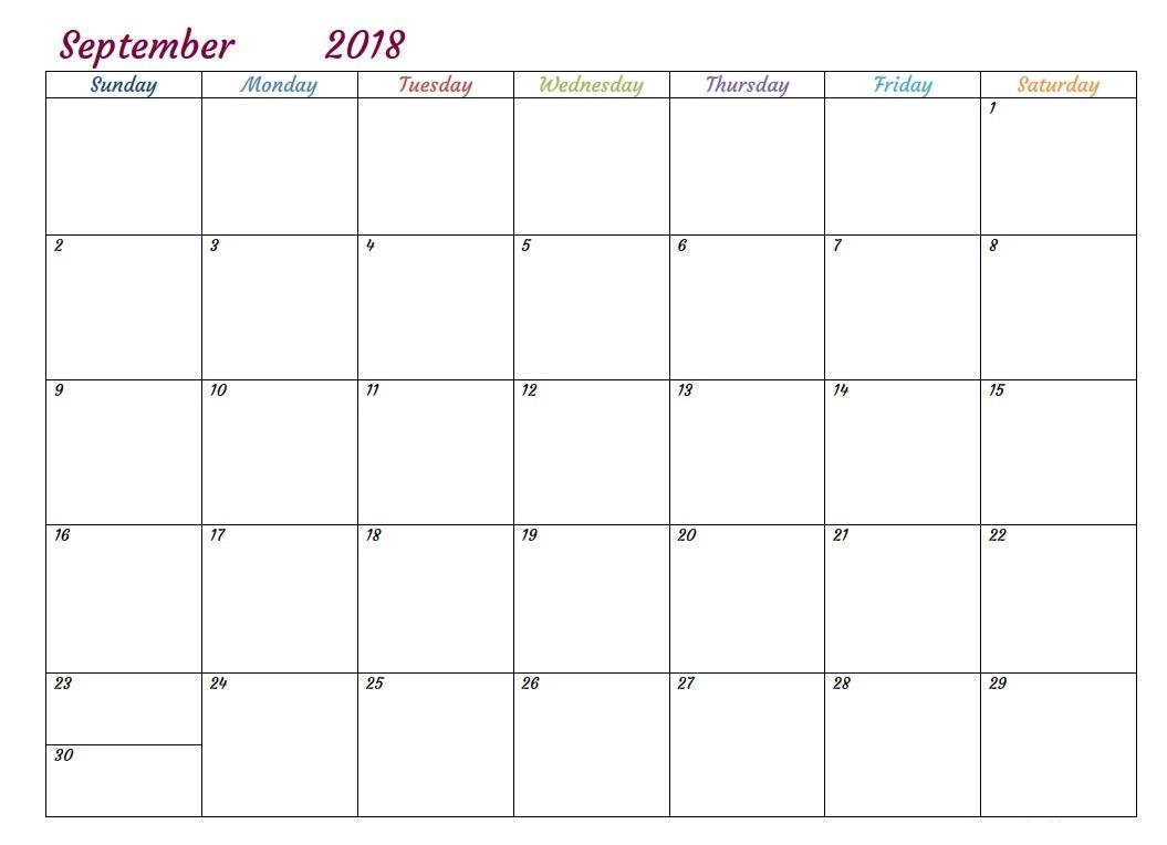 Blank September 2018 Calendar Tumblr