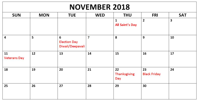 Calendar November 2018 Excel