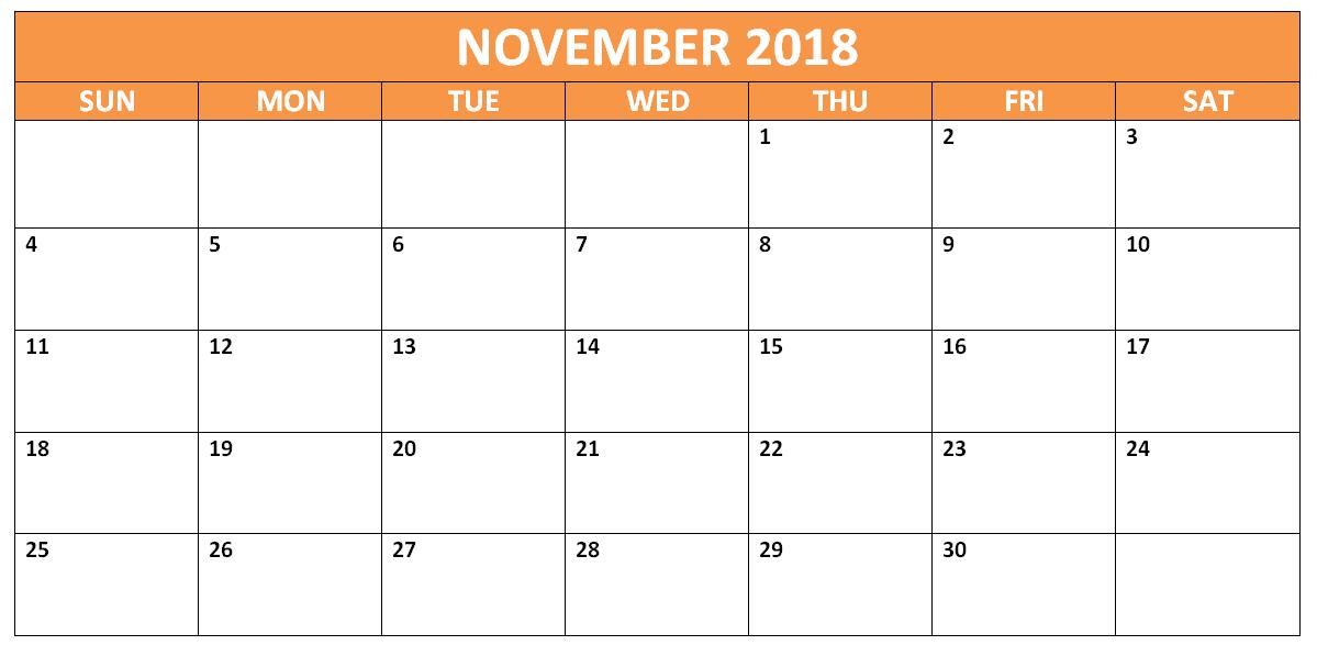 Calendar November 2018 PDF