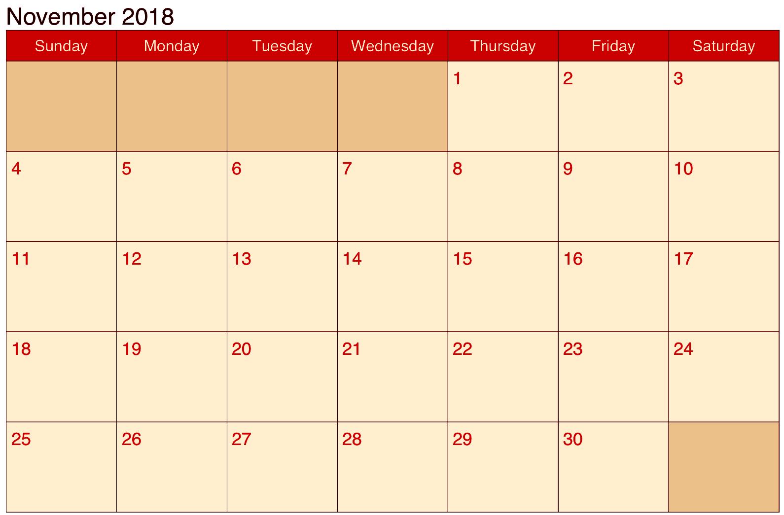 Calendar November 2018 Word