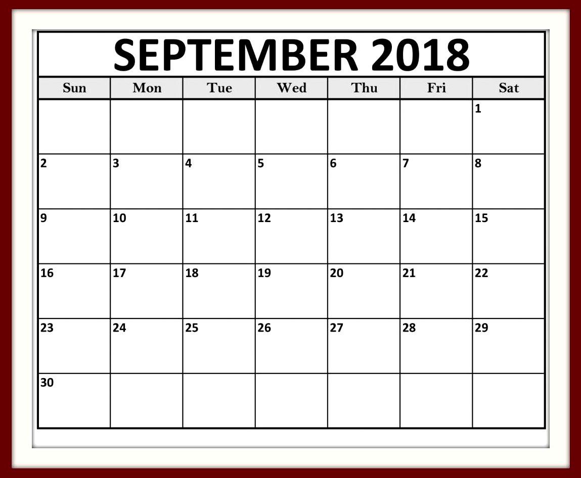 Calendar September 2018 Tumblr