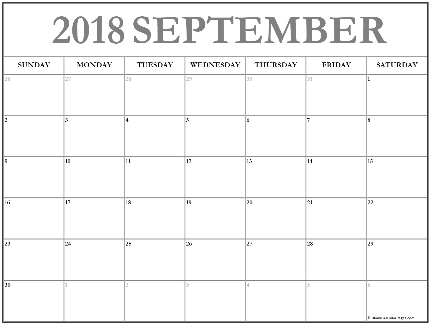 Calendar September 2018 in PDF Word Excel