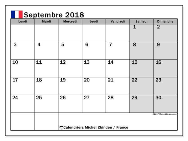 Calendrier Septembre 2018 France