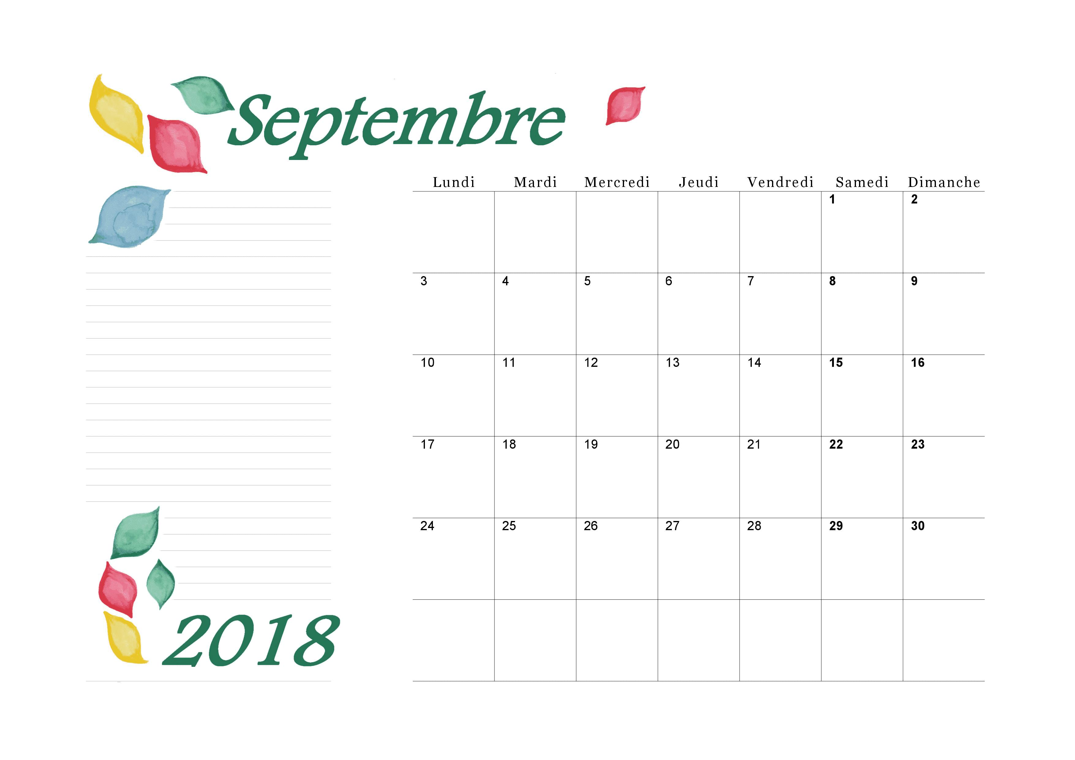 Calendrier Septembre 2018 Paysage Design Aquarelle