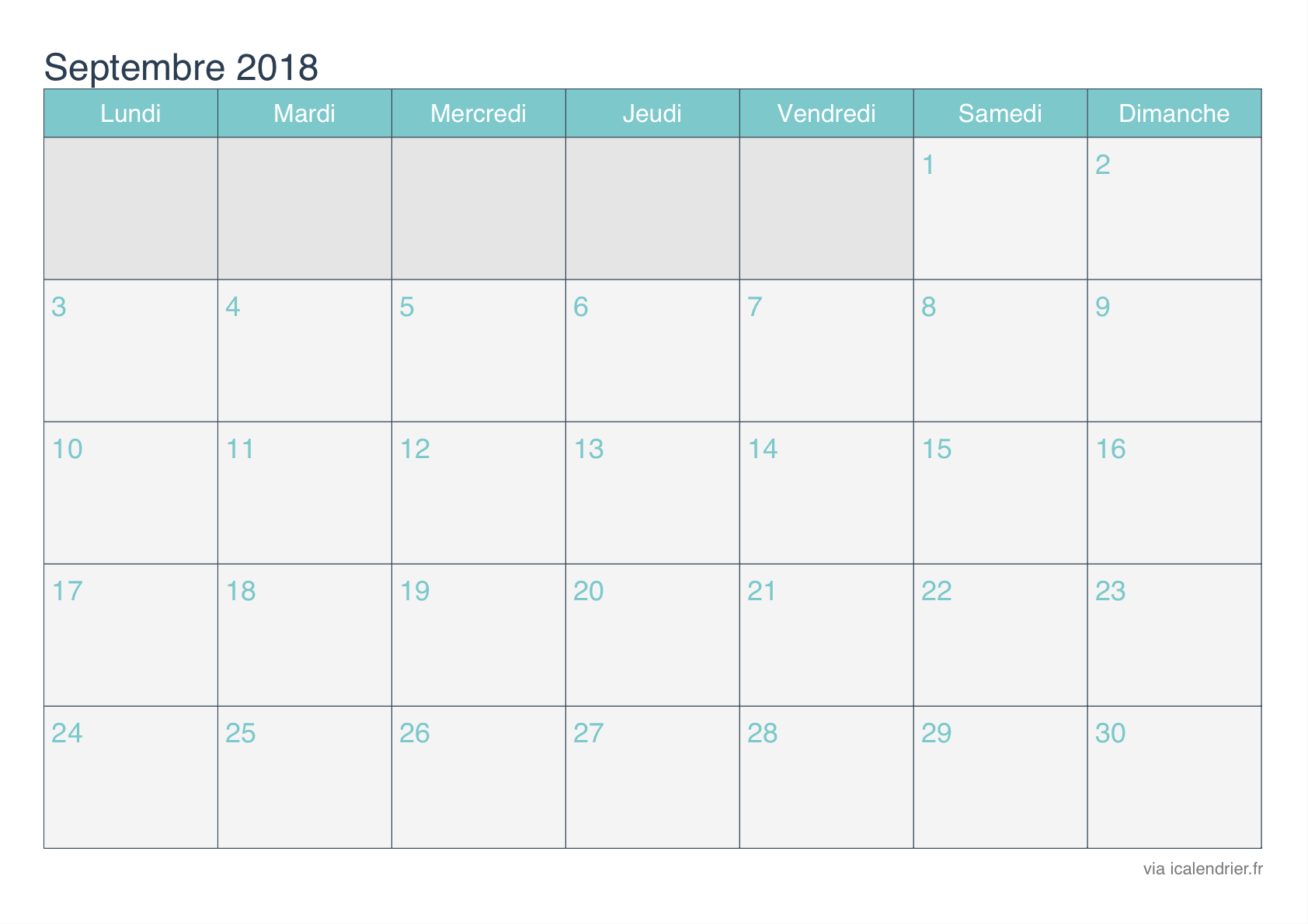 Calendriers Septembre 2018 Turquoise