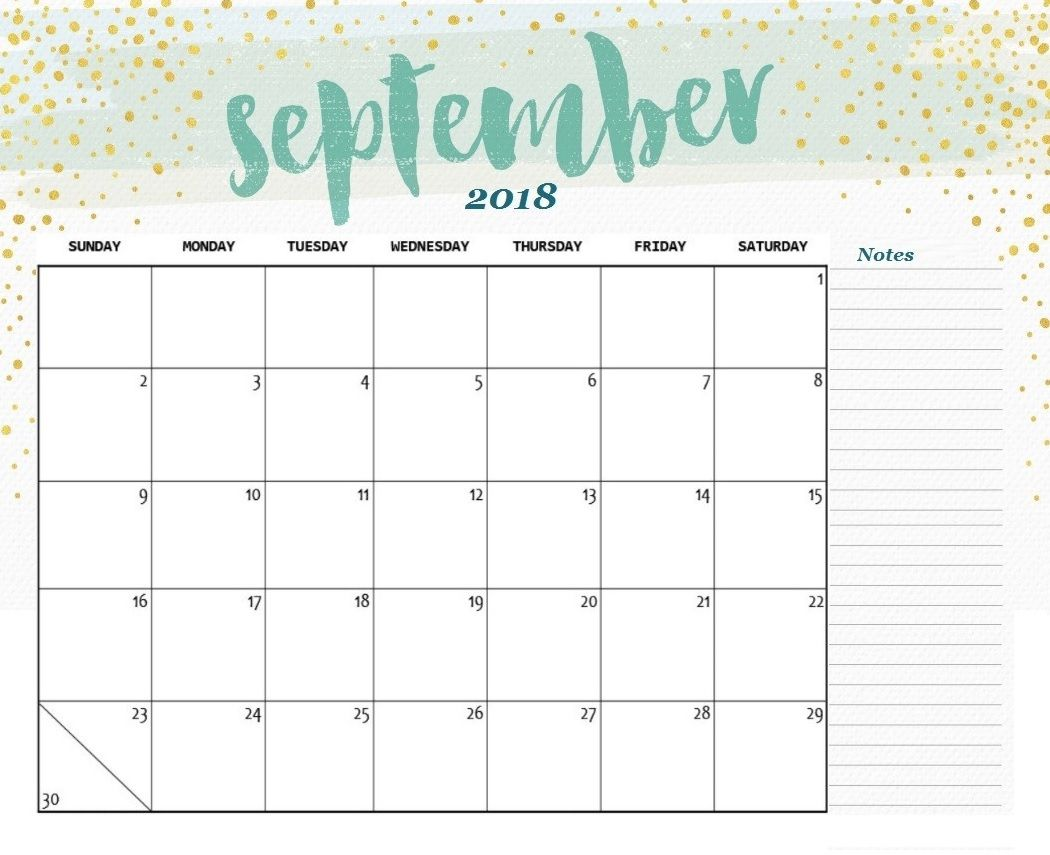 Cute Calendar September 2018 With Notes
