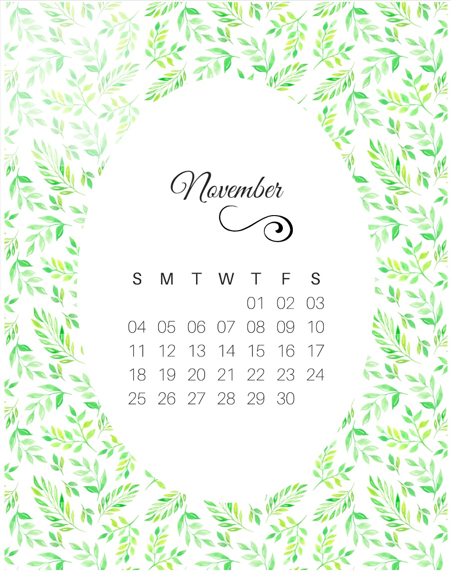 Cute November 2018 Calendar Design