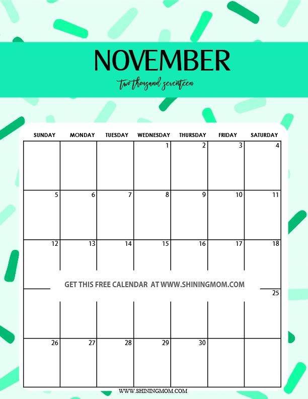 Cute November 2018 Calendar Page